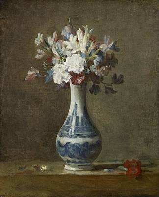 A Vase Of Flowers By Jean-baptiste-simeon Chardin, 1750 Art Print