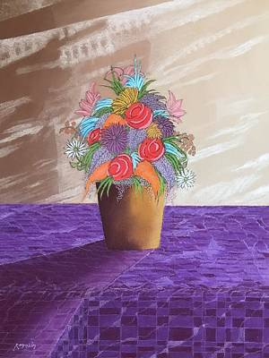 Pastel - A Vase Of Flowers II by Harvey Rogosin