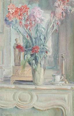 A Vase Of Flowers With A Teacup On A Table Art Print