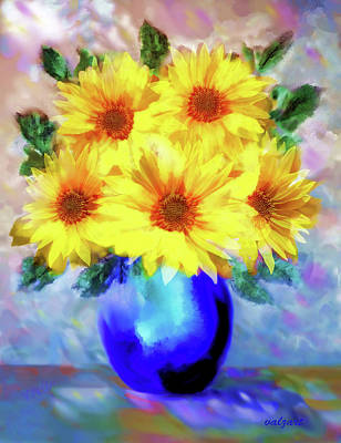 Painting - A Vase Of Sunflowers by Valerie Anne Kelly