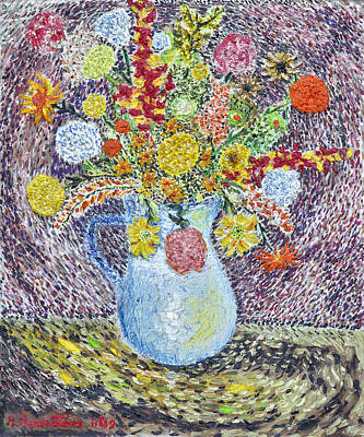 A Vase With Flowers Print by Arnold Bernstein