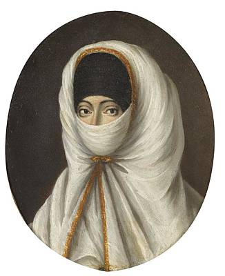 Islam Painting - A Veiled Lady by Continental School