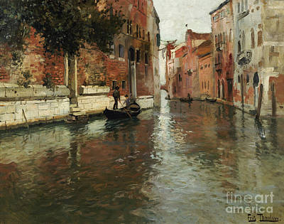 A Venetian Backwater  Art Print by Fritz Thaulow