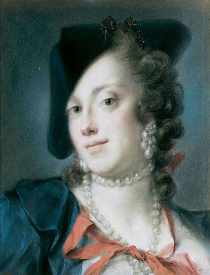 A Venetian Lady From The House Of Barbarigo Art Print by Rosalba Carriera