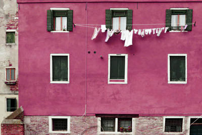 Travel Photograph - A Venetian View In Deep Pink With Laundry by Brooke T Ryan