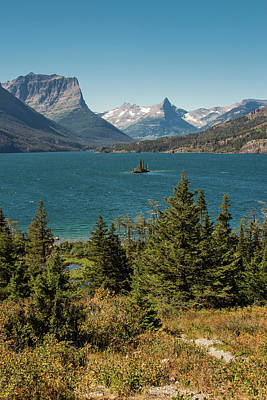Photograph - A Vertical Photgraph Of Wid Goose Island Glacier Nat. Park by Rusty R Smith