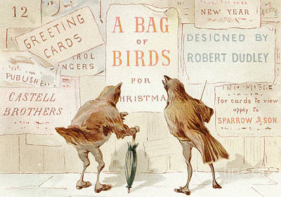 Robin Drawing - A Victorian Christmas Card Of Two Birds Looking At A Poster Of A Bag Of Birds For Christmas by English School