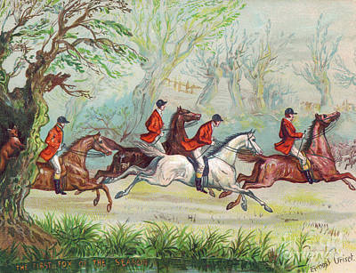 Equestrian Fashion Painting - A Victorian Greeting Card Of Fox Hunters Racing By While The Fox Hides In A Tree by Ernest Henry Griset