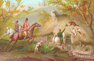 Fox Drawing - A Victorian New Year Card Of A Fox Hunt by English School