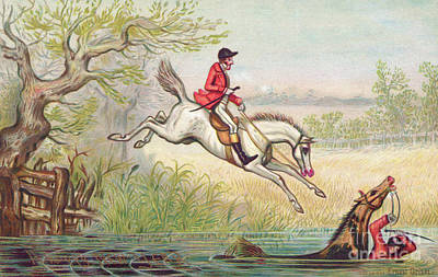 A Victorian New Year Card Of A Fox Hunt With A Huntsman And His Horse Falling In The River Art Print
