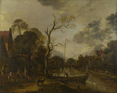 Photograph - A View Along A River Near A Village At Evening by Aert van der Neer