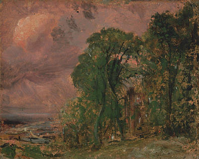 Stormy Weather Painting - A View At Hampstead With Stormy by John Constable