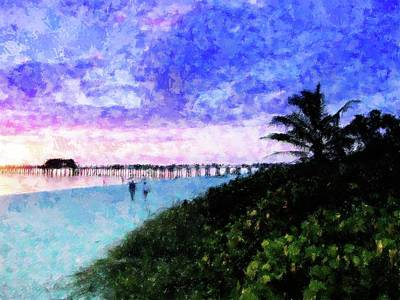 Beach Sunset Mixed Media - A View At Naples Pier by Florene Welebny