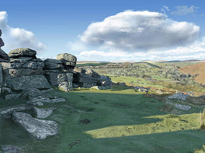 Digital Art - A View From Combestone Tor by Nigel Follett