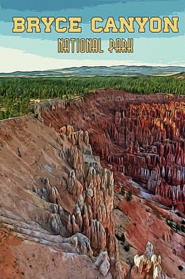 Painting - A View From The Bryce Canyon National Park by Andrea Mazzocchetti