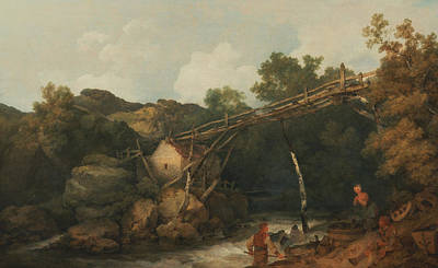 Painting - A View Near Matlock, Derbyshire With Figures Working Beneath A Wooden Conveyor by Philip James de Loutherbourg