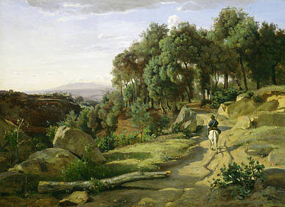 Horseback Painting - A View Near Volterra by Camille Corot