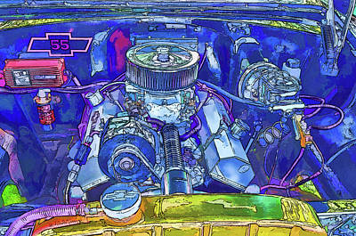 A View Of A Motor Car Engine Art Print by Lanjee Chee