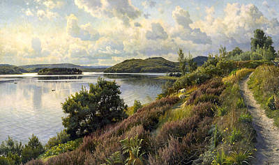 Painting - A View Of Borreso From Himmelbjerget, Denmark by Peder Monsted
