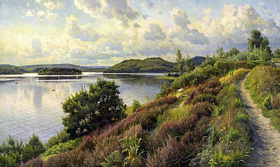Painting - A View Of Borreso From Himmelbjerget by Mountain Dreams