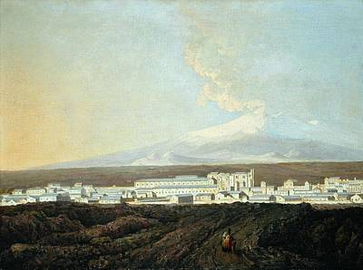 Etna Painting -  A View Of Catania With Mount Etna In The Distance by Joseph Wright