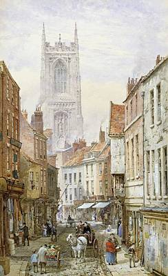 Cobbles Painting - A View Of Irongate by Louise J Rayner