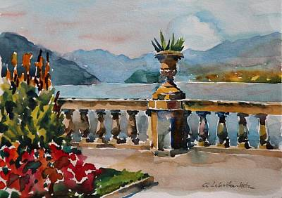 Painting - A View Of Lago Di Como At Bellagio by Anna Lobovikov-Katz