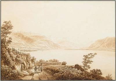 Lake Geneva Painting - A View Of Lake Geneva Near Vevey. by Celestial Images