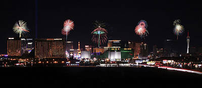 Paris Skyline Royalty-Free and Rights-Managed Images - A View of Las Vegas Strip Fireworks Looking North by Derrick Neill
