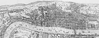 Plan View Drawing - A View Of London In The Sixteenth Century by English School