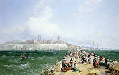 Victorian Town Painting - A View Of Margate From The Pier by James Webb