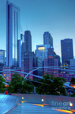 Photograph - A View Of Millenium Park From The Amoco Bridge In Chicago At Dus by David Levin