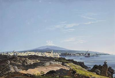 Etna Painting - A View Of Mount Etna And The Bay Of Catania by Francesco Zerillo