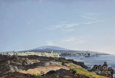 Etna Painting - A View Of Mount Etna And The Bay Of Catania by MotionAge Designs
