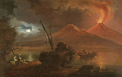 Painting - A View Of Mount Vesuvius Erupting By Moonlight by Attributed to Francesco Fidanza