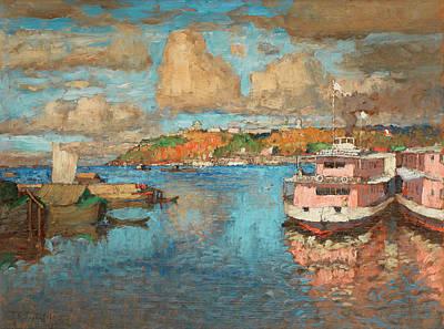 Putin Painting - A View Of Nizhny Novgorod by Konstantin Ivanovich Gorbatov