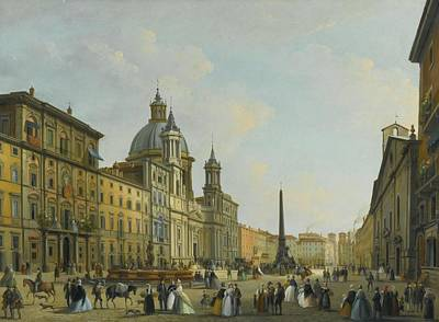 A View Of Piazza Navona With Elegantly Dressed Figures Art Print