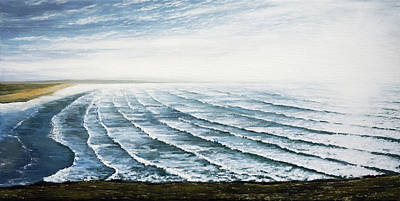 Painting - A View Of Saunton Beach And Waves by Mark Woollacott