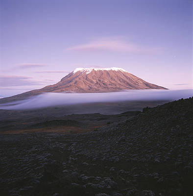 Volcano Photograph - A View Of Snow-capped Mount Kilimanjaro by David Pluth