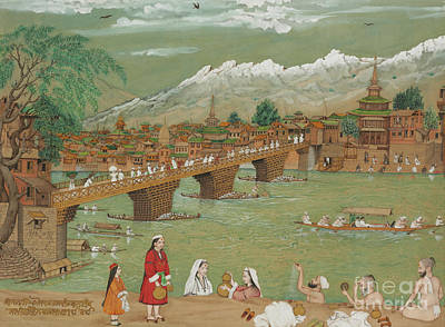 Townscapes Drawing - A View Of Srinagar, 1872 by Bishan Singh