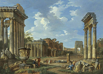 Borghese Painting - A View Of The Camp Vaccino by Giovanni Paolo Panini