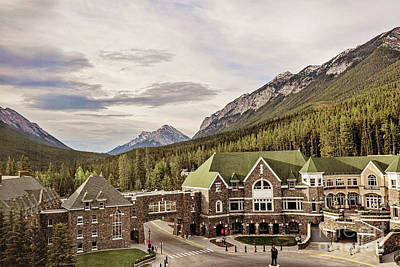 A View Of The Canadian Rockies From The Fairmont Hotel In Banff Art Print