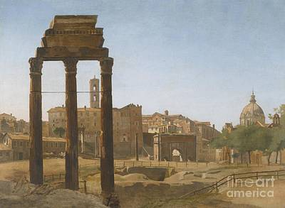 Temple Of Castor And Pollux Painting - A View Of The Forum Towards The Palazzo Senatorio by Celestial Images