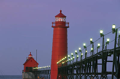 Docks Etc Photograph - A View Of The Grand Haven Lighthouse by Ira Block