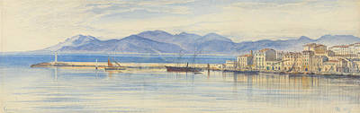 Drawing - A View Of The Harbour At Cannes by Edward Lear