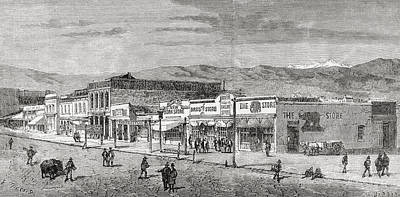 Main Street Drawing - A View Of The Main Street, Salt Lake by Vintage Design Pics