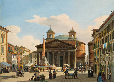 A View Of The Pantheon In Rome Art Print by Giuseppe Canella