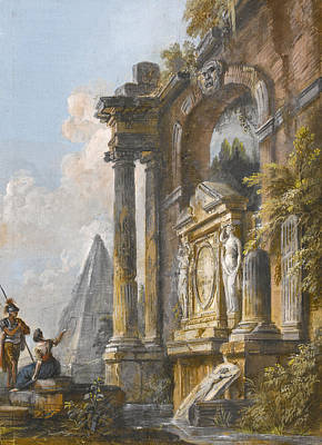 Drawing - A View Of The Pyramid Of Caius Cestius And Ancient Ruins by Jean-Baptiste Lallemand