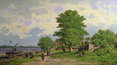 Steamboat Painting - A View Of The River Volga by Piotr Petrovitch Weretshchagin