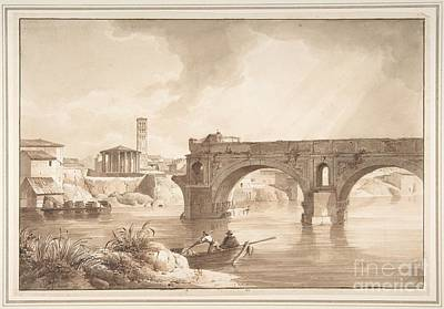 Sky Drawing - A View Of The Tiber From The North Bank by Celestial Images